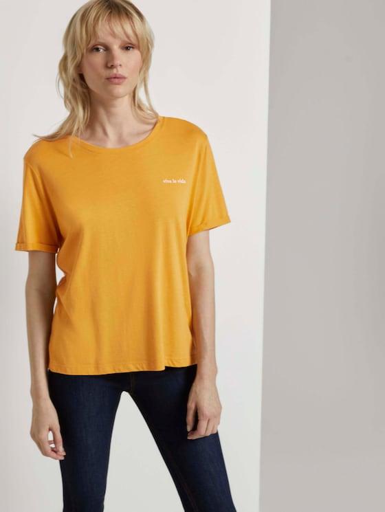 Lockeres T-Shirt mit kleiner Stickerei - Frauen - Golden Corn - 5 - Mine to five