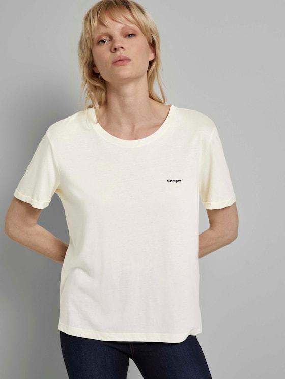 Lockeres T-Shirt mit kleiner Stickerei - Frauen - white horse - 5 - Mine to five
