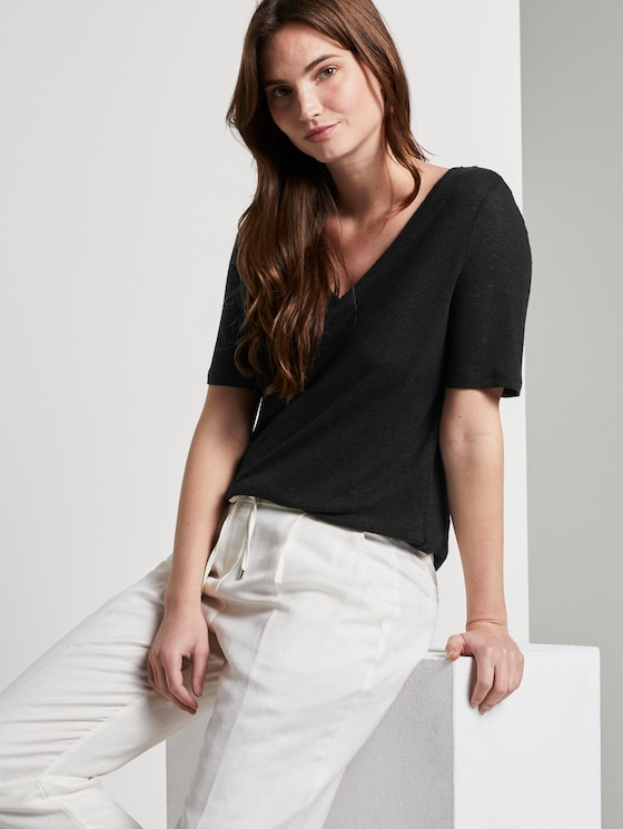 Leinen T-Shirt mit V-Ausschnitt - Frauen - Deep Black - 5 - Mine to five