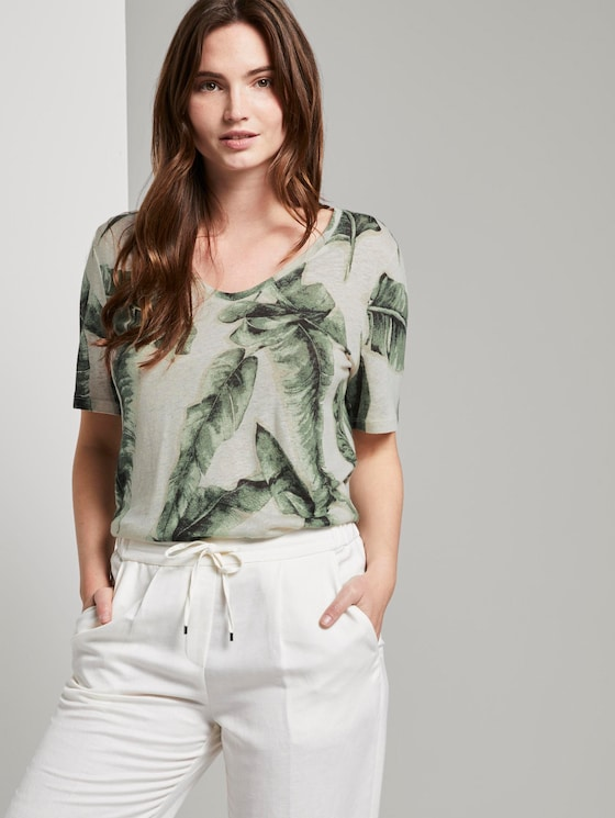Linnen T-shirt met V-hals - Vrouwen - ecru tropical leaves design - 5 - Mine to five