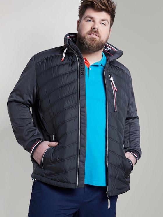 Hybrid jacket with a stowed hood - Men - Sky Captain Blue - 5 - Men Plus