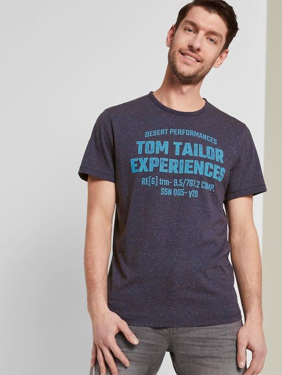 Meliertes T-Shirt mit Print - Männer - blue-grindle stripe - 5 - TOM TAILOR