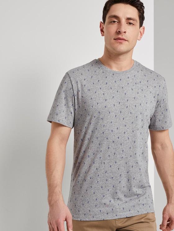 Mehrfarbiges T-Shirt mit Allover-Print - Männer - sandy cactus design - 5 - TOM TAILOR