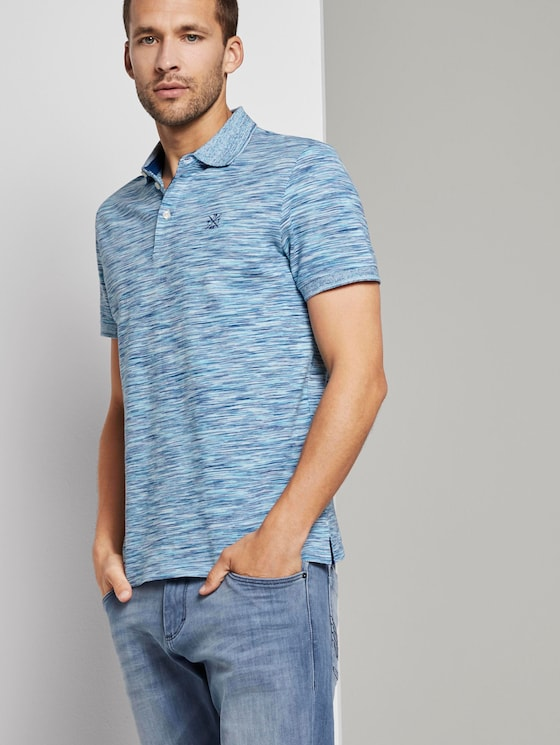 Mottled polo shirt with small embroidery - Men - teal spacedye - 5 - TOM TAILOR