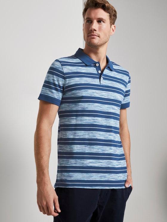 Poloshirt mit Streifenmuster - Männer - teal spacedye - 5 - TOM TAILOR
