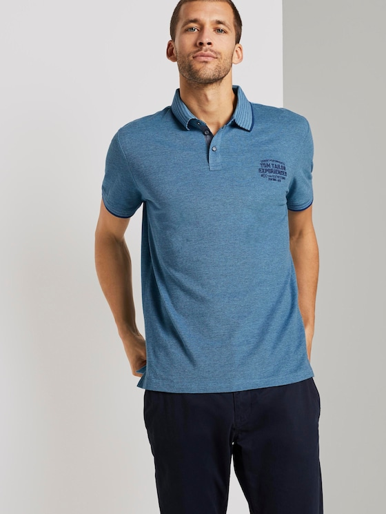 Two-tone polo shirt with small embroidery - Men - teal twotone structure - 5 - TOM TAILOR