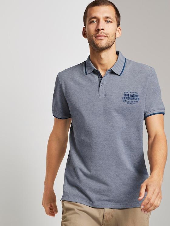 Zweifarbiges Poloshirt mit kleiner Stickerei - Männer - blue twotone structure - 5 - TOM TAILOR