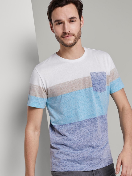 T-shirt with a pale striped print - Men - after dark blue - 5 - TOM TAILOR