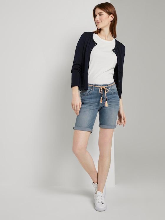 Tapered Bermuda-Shorts mit Kordelgürtel - Frauen - light stone wash denim - 3 - TOM TAILOR