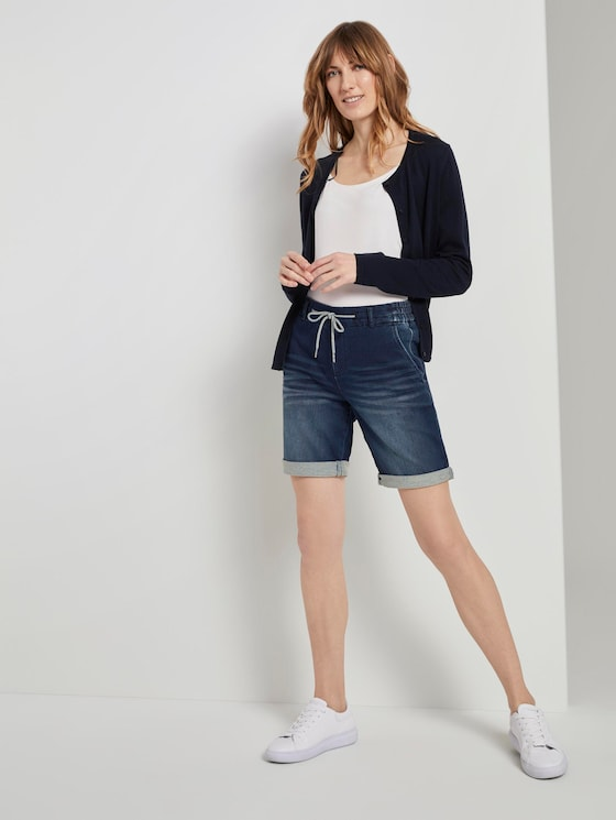 Loose-fit Bermuda denim shorts with an elastic waistband - Women - mid stone wash denim - 3 - TOM TAILOR