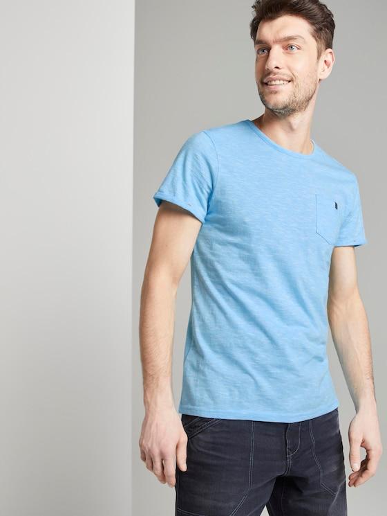 Strukturiertes T-Shirt mit Brusttasche - Männer - teal dot structure - 5 - TOM TAILOR