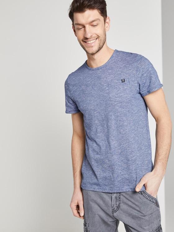 Strukturiertes T-Shirt mit Brusttasche - Männer - blue dot structure - 5 - TOM TAILOR