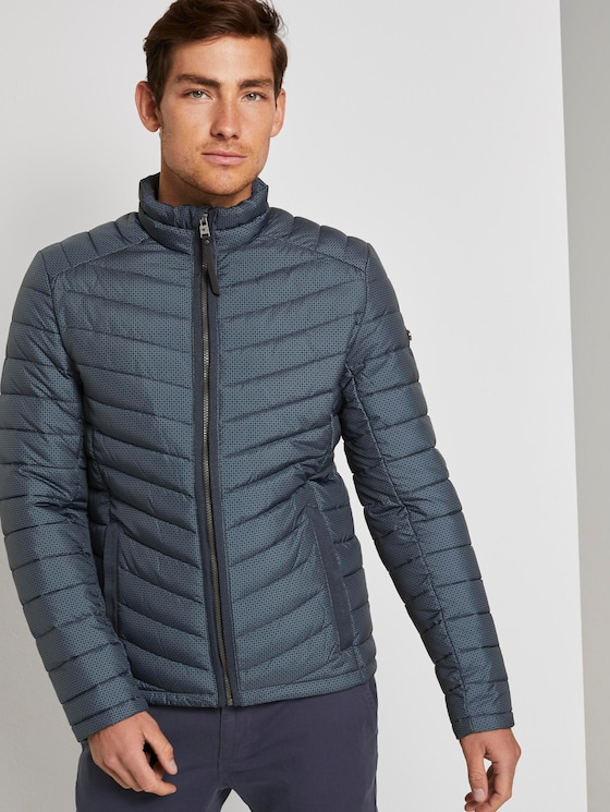Lightweight quilted jacket with a stand-up collar - Men - blue stroke design - 5 - TOM TAILOR