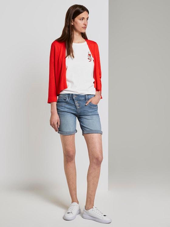 Alexa Slim Bermuda Jeansshorts mit Knopfleiste - Frauen - mid stone bright blue denim - 3 - TOM TAILOR