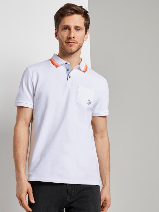Poloshirt mit Brusttasche - Männer - White - 5 - TOM TAILOR