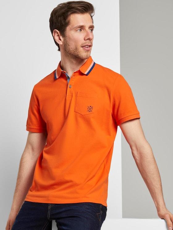 Poloshirt mit Brusttasche - Männer - true orange - 5 - TOM TAILOR