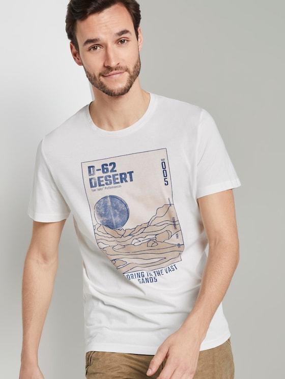 T-Shirt mit Wüsten-Print - Männer - Coconut Cream - 5 - TOM TAILOR