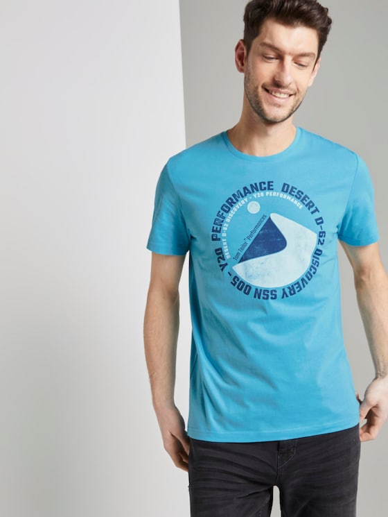 T-Shirt mit Wüsten-Print - Männer - crystal sea blue - 5 - TOM TAILOR