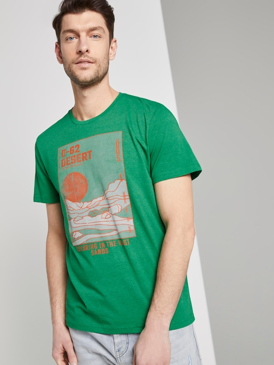 T-shirt with a desert print - Men - jolly green white melange - 5 - TOM TAILOR
