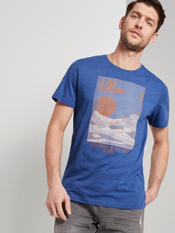T-Shirt mit Wüsten-Print - Männer - royal blue white melange - 5 - TOM TAILOR