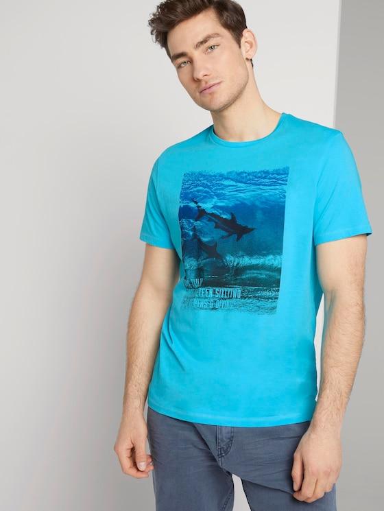 T-Shirt mit Print - Männer - clear blue atoll - 5 - TOM TAILOR