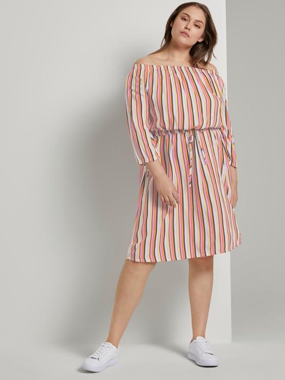 Schulterfreies Midi-Kleid mit verstellbarem Bund - Frauen - mutlicolor stripe - 5 - My True Me