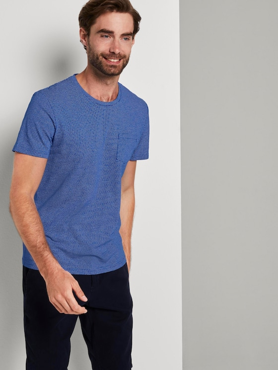Schlichtes T-Shirt - Männer - violet blue waves design - 5 - TOM TAILOR