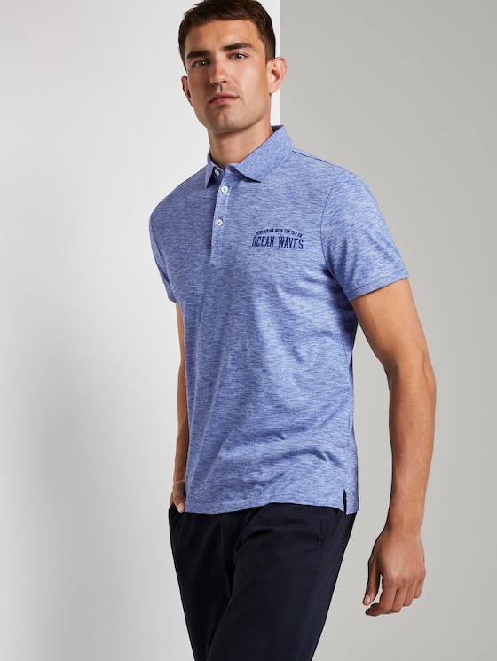 Meliertes Poloshirt - Männer - violet blue coloured melange - 5 - TOM TAILOR