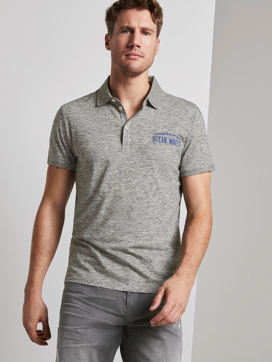 Meliertes Poloshirt - Männer - grey coloured melange - 5 - TOM TAILOR
