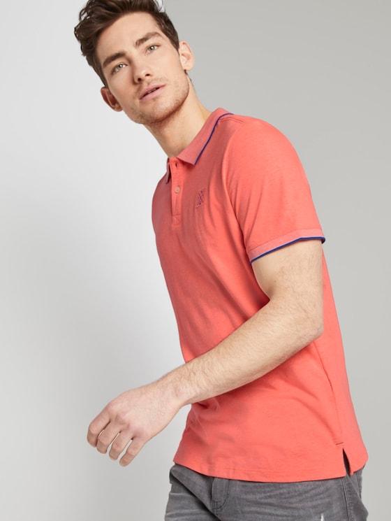 Poloshirt mit Kontraststreifen - Männer - neon pink white melange - 5 - TOM TAILOR