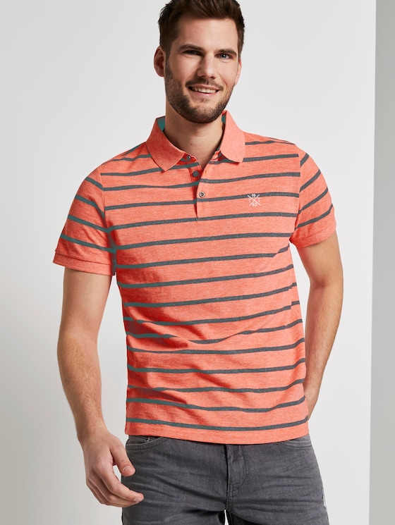 Striped polo shirt - Men - neon pink melange stripe - 5 - TOM TAILOR