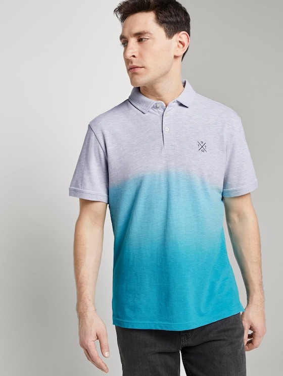 Polo shirt with a gradient - Men - clear blue atoll - 5 - TOM TAILOR