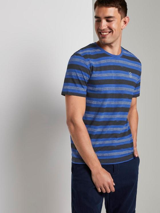 Gestreiftes T-Shirt - Männer - violet blue bold watery stripe - 5 - TOM TAILOR