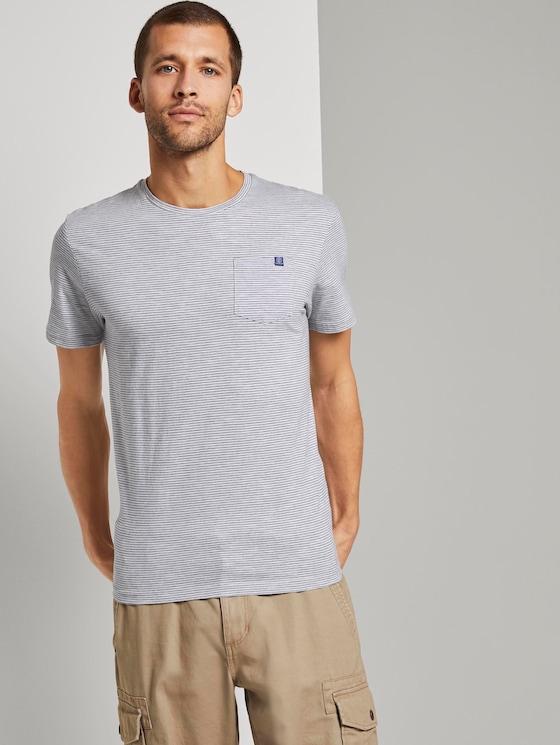 Gestreiftes T-Shirt - Männer - stripe white - 5 - TOM TAILOR