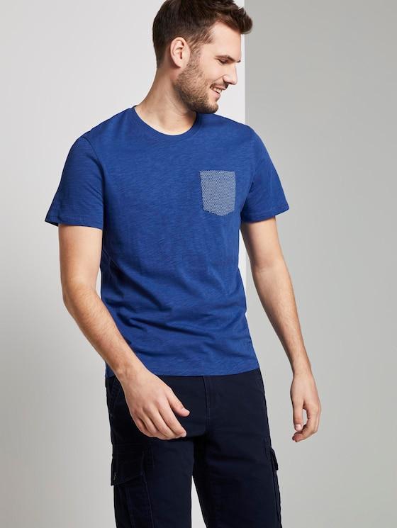 T-Shirt mit Tasche auf der Brust - Männer - Shiny Royal - 5 - TOM TAILOR