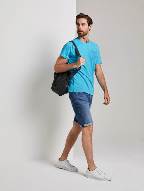 T-Shirt mit Tasche auf der Brust - Männer - clear blue atoll - 3 - TOM TAILOR