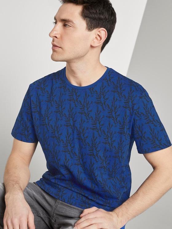 Gemustertes T-Shirt - Männer - blue water coral design - 5 - TOM TAILOR