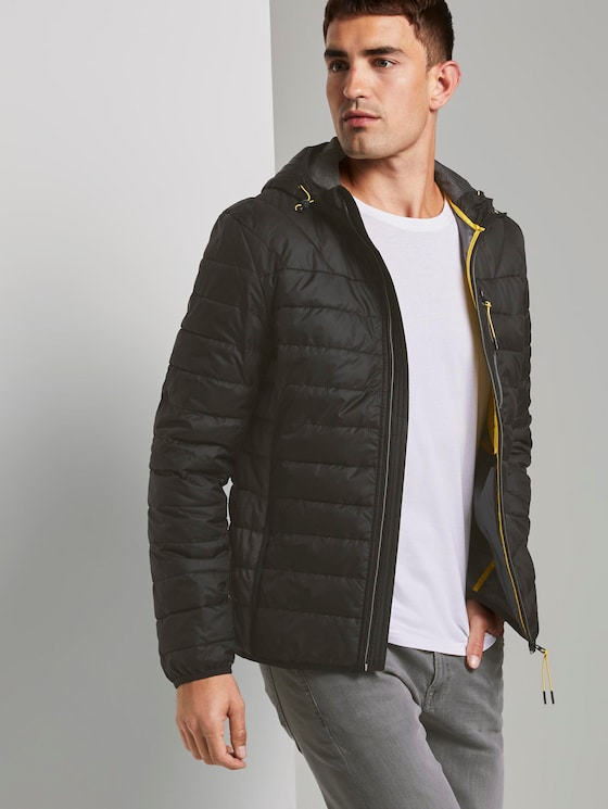 Lightweight quilted jacket with a hood - Men - Black - 5 - TOM TAILOR