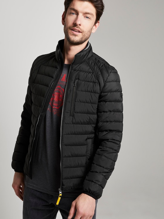 Hybrid quilted jacket with a stand-up collar - Men - Black - 5 - TOM TAILOR