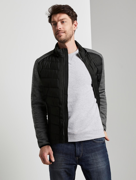 Hybrid quilted jacket with a detachable hood - Men - Black - 5 - TOM TAILOR