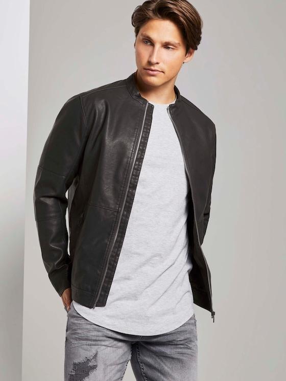 Faux leather biker jacket with side quilts - Men - Black - 5 - TOM TAILOR Denim