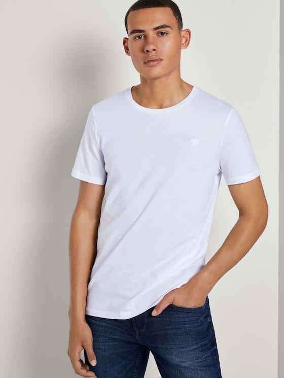 Basic T-Shirt im Dreierpack - Männer - White - 5 - TOM TAILOR Denim