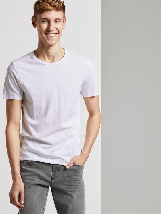 T-Shirts im Dreierpack - Männer - Light Stone Grey Melange - 5 - TOM TAILOR Denim