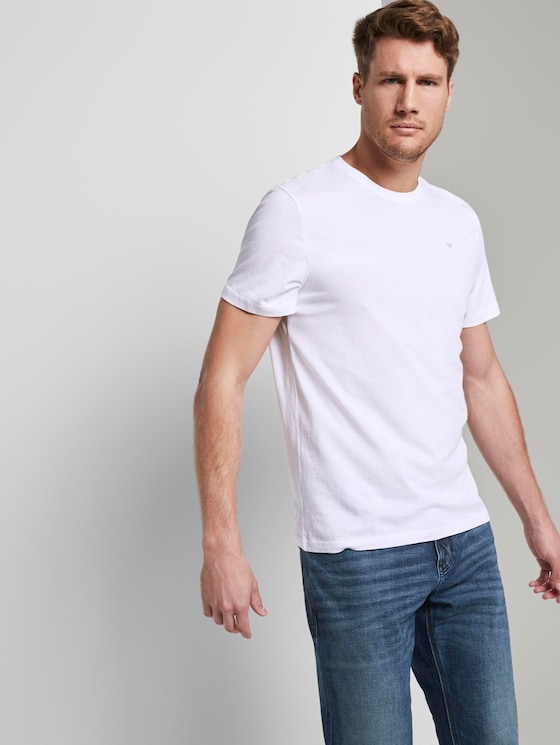 Basic T-shirt in a twin pack - Men - Real Navy Blue - 5 - TOM TAILOR