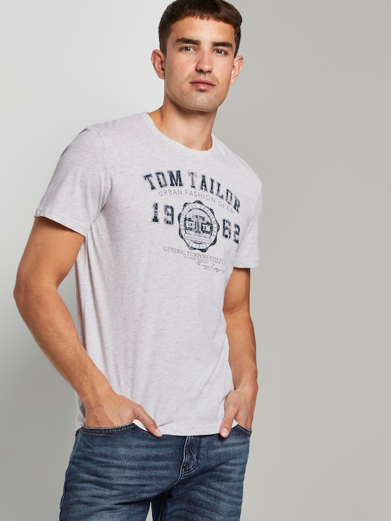 Basic T-Shirt im Dreierpack - Männer - Blanc De Blanc White Melange - 5 - TOM TAILOR