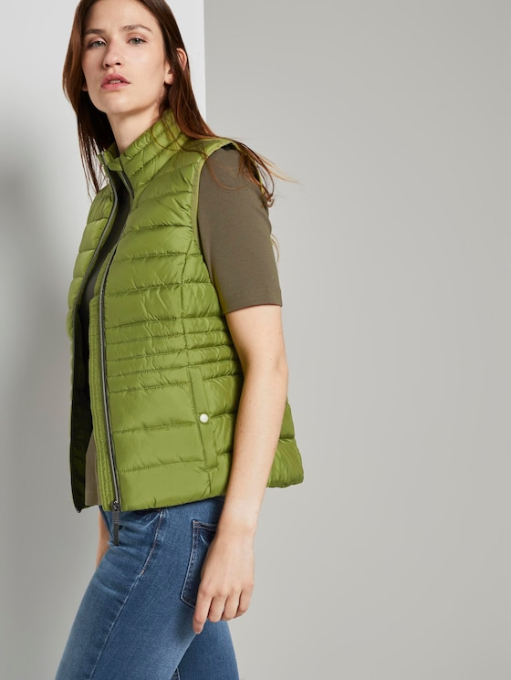 Lightweight quilted vest with a stand-up collar - Women - wood green - 5 - TOM TAILOR