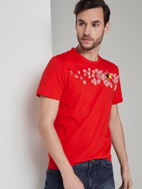 T-Shirt mit Fußball-EM-Print - Männer - brilliant red - 5 - TOM TAILOR