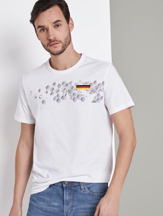 T-Shirt mit Fußball-EM-Print - Männer - White - 5 - TOM TAILOR