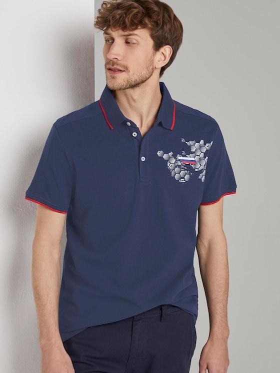 Sportliches Poloshirt mit Fußball-EM-Print - Männer - True Dark Blue - 5 - TOM TAILOR