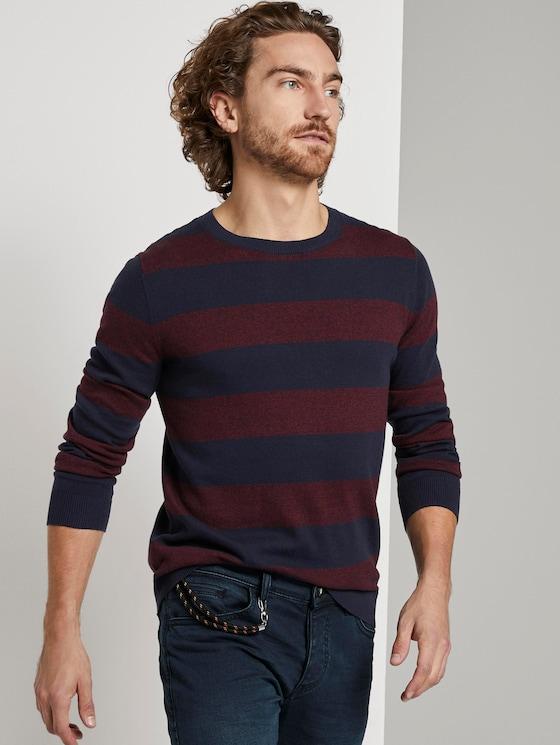striped jumper - Men - purple block stripe - 5 - TOM TAILOR